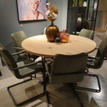 (Showmodel) Feelings Armstoel Famke Olive Set/6 Showroommodellen Leder